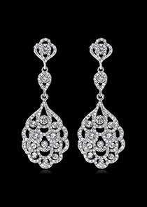 In Stock Charming Alloy Wedding Earrings With Rhinestones