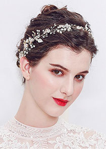 In Stock Romantic Alloy Wedding Hair Ornament With Beadings