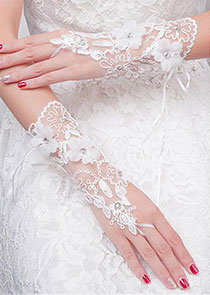 In Stock Unique Tulle Ivory Wedding Gloves With Lace Appliques & Handmade Flowers & Beadings